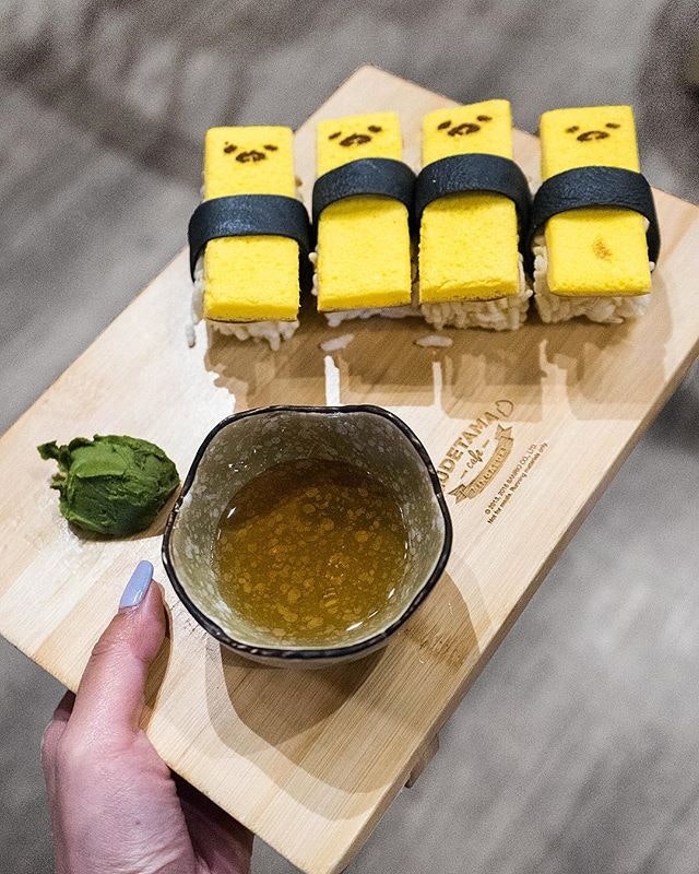Egg-cited for Fry-yay (with Gudetama) 🍣 — Gudetama Cafe ramping it up and being super extra by making lazy egg into tamago sushi (which looks waaayy better than it looks - trust me).