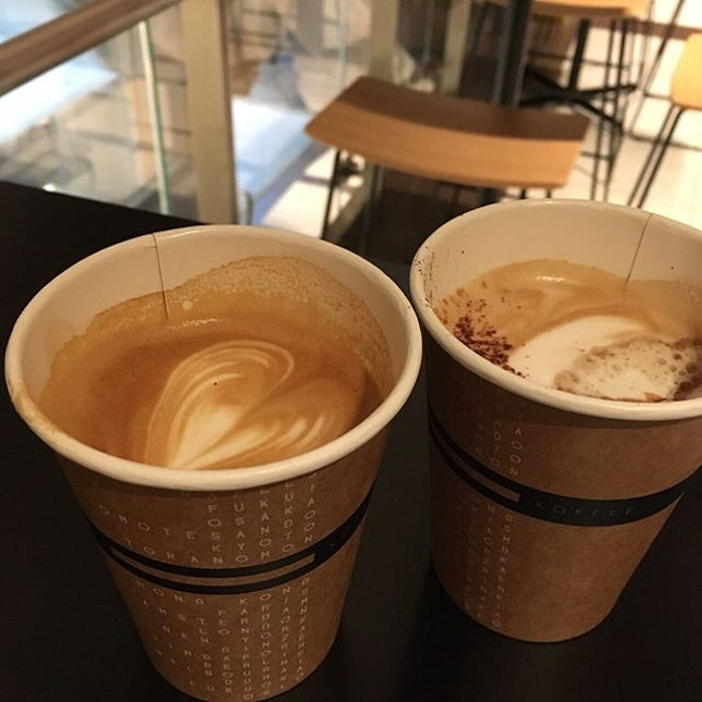 I won't last a day without you 🎶 #coffee  Cafe Mocha wasn't too sweet, which I really liked, and the Cappuccino Doppio was rich and creamy.