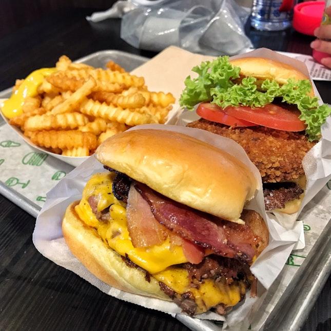 Double Smoke Shack & Shack Stack Burgers
