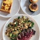 Proscuitto Quiche, House Super Salad, Cupcakes