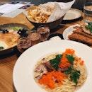 Foie Gras Pasta, Miso Salmon, Pork Katsu, Truffle Fries