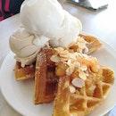 Apple Pie Waffle($9) With Ice Cream