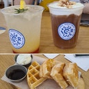 Sparkling Rose Lemonade + Houjicha, Salted Cream Froth and Puffed Rice + Cinnamon Sugar Churros Waffle