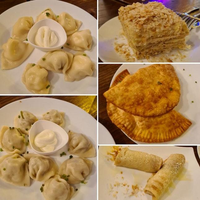 Potato Mushroom + Homemade Cheese + Chebureki + Napoleon Cake + Dulce de Leche Crepes
