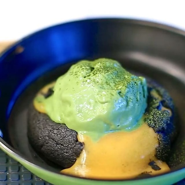Salted egg lava cookie with matcha ice cream.