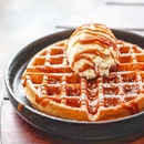 Salted Caramel Ice Cream And Waffle