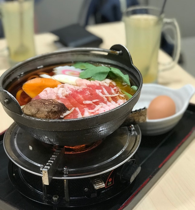 Beef Udon Hot Pot & Hot Yuzu Tea ($10.90++ Student Meal)