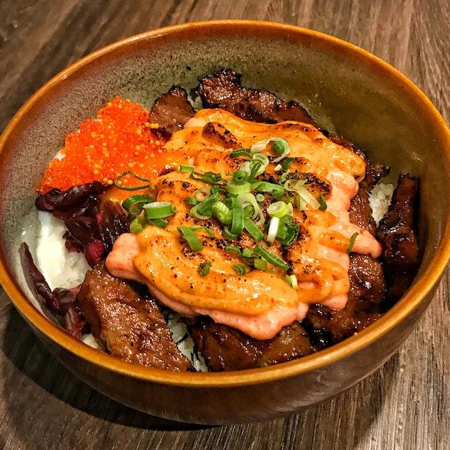 Spicy Mentaiko Wagyu Beef Bowl ($21.90, $15 Chope Set)