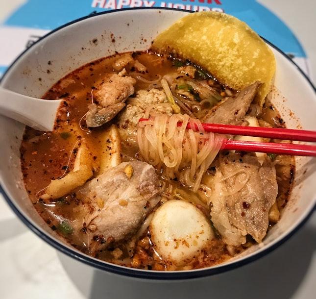 Tom Yum Pork Noodles (Soup, Thai Thin Noodles) ($5.80)