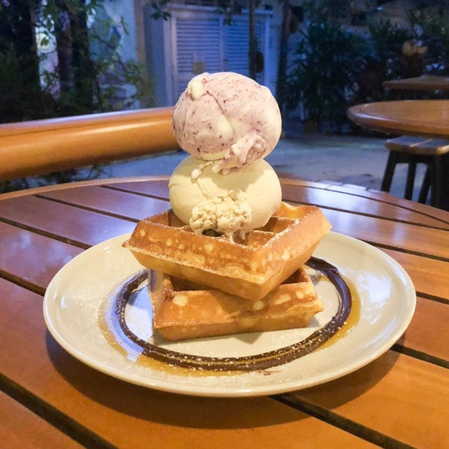 Waffles with Earl Grey Lavender & Lemon Blueberry Yogurt Ice Cream  $9.30