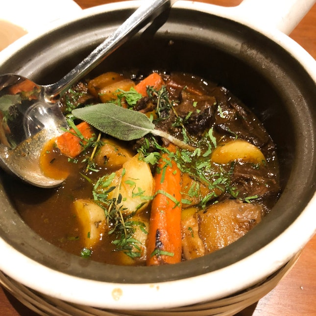 Beef Cheek Braised in Red Wine, Carrots and Mushrooms $58