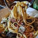 Bacon Shrooms Carbonara ($16)