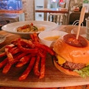 The Bunker Cheeseburger ($25) + Topped Up For Sweet Potato Fries ($2)