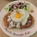 Croque Madame Pancakes ($19)