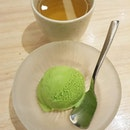Matcha ice cream (after being so full)!