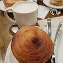 Breakfast after AHM 2018 - Turkey Bacon, Tomato & Egg Croissant Bun with Chai Tea Latte ($9.70)!