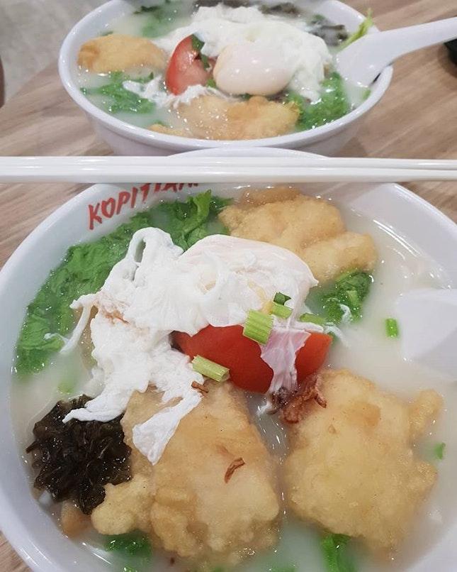 Fried fish plus egg bee hoon soup ($5.30) 😋 .