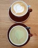 Raspberry latte and matcha chocolate latte ☕😋 .