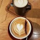 Chai latte ($7.50++) and Cappuccino (L: $6.50++) ☕☕ .