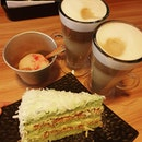 Osmanthus latte, Speculoos latte, Yuzu raspberry sorbet, Ondeh ondeh cake ($22.10)!