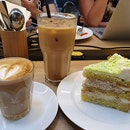 Honey milk latte ($5++); Iced latte ($6.50++); Pandan gula melaka cake ($7.90++)!