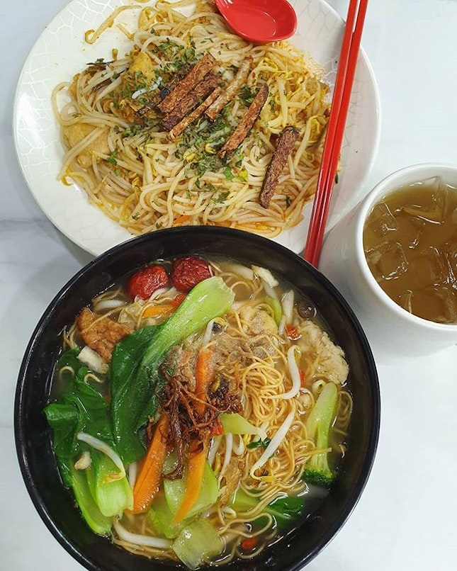Green Bliss Habitat - Stir fried laksa ($4.50); Herbal noodles ($4.50); Sour plum drink ($2.50)!