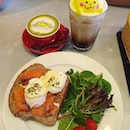 Eggs Atlantic ($16); Honey matcha latte ($6); Iced mocha ($7.50)!
