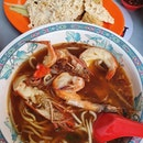 Sultan prawn noodles ($10) & Ngoh hiang ($6)!