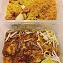 Grab Food - Pineapple fried rice ($8) & Prawns phad thai ($6.50)!