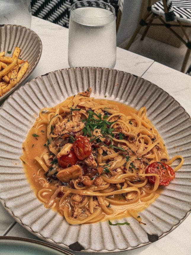 Crabmeat Pasta White Wine Sauce