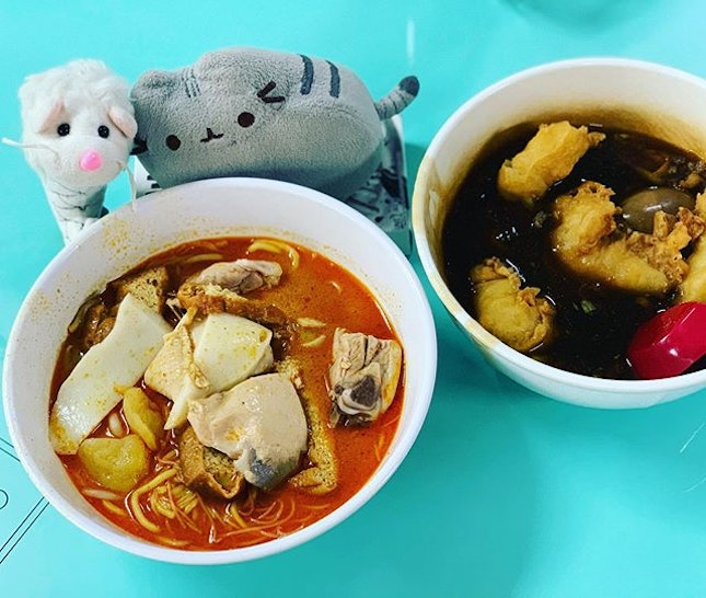 Merryan had yummy curry chicken noodles for breakfast with adorable @pusheen_travels!