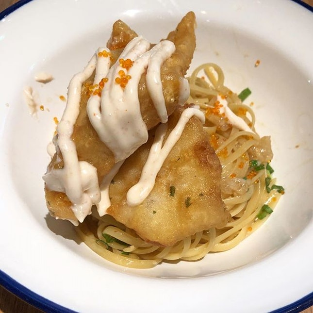 [Tempura Mentaiko Pasta-$16]  One of the new pasta dish available @benjaminbarkercafe .