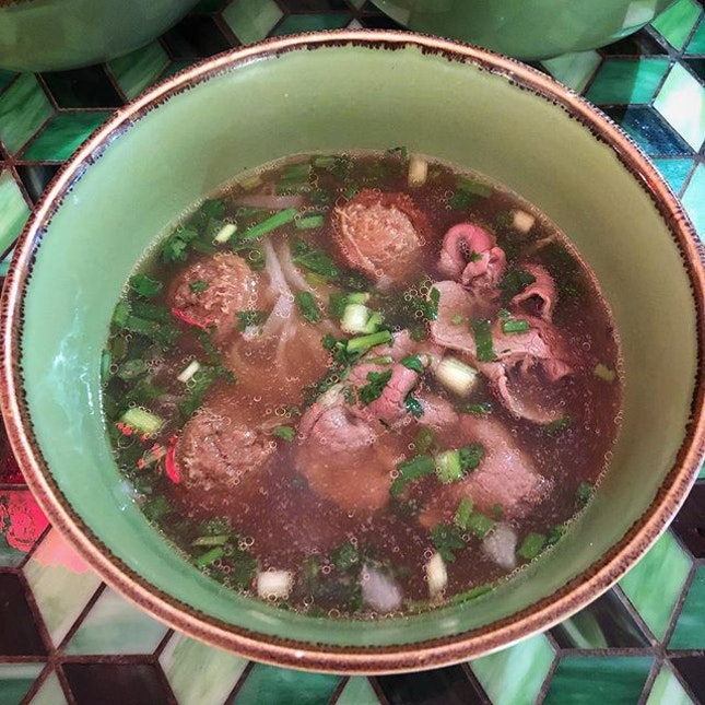 Pho with australian beef slices and beef balls.