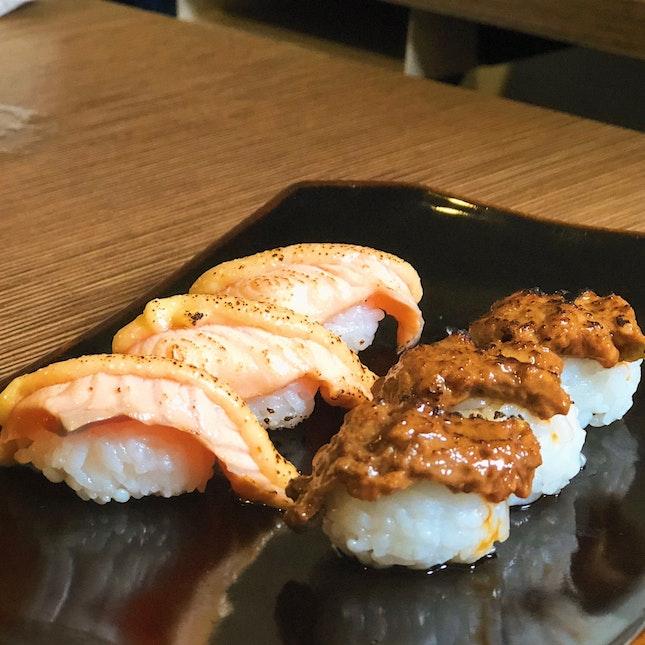 Aburi Sake Sushi , Negitoro Sushi