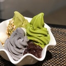 [3 Flavour Bowl-$12.90]  Unbearably hot weather nowadays is perfect for some ice cream 😋 As alluded by its name, this includes your choice of 3 softserves from matcha/houjicha/goma/hokkaido milk.