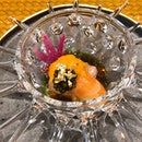 Botan ebi with uni and caviar