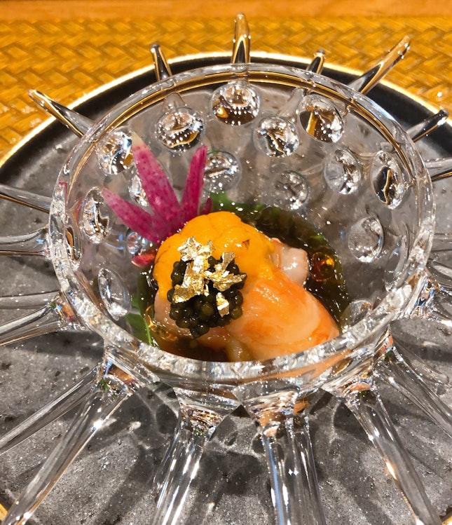 Botan ebi with uni and caviar
