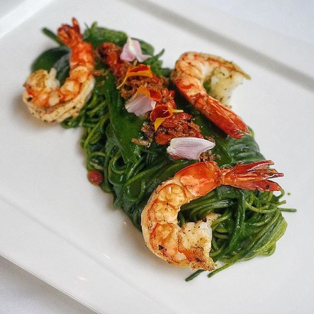 The first and only of its kind - Tiger Prawn Spaghettini with Spinach Sauce and Snow Pea Supreme.