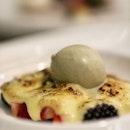 Fresh berries with Marsala wine sabayon and pistachio gelato at @garibaldisingapore 🇸🇬 .
