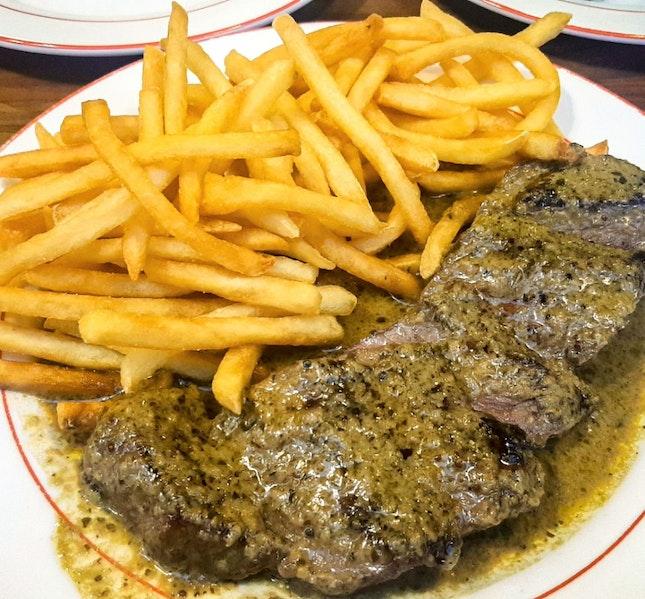 L'Entrecôte Steak & Fries ($34.90)