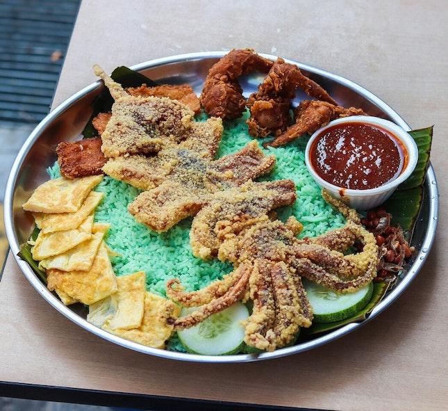 Nasi Lemak with a Big Fried Sotong