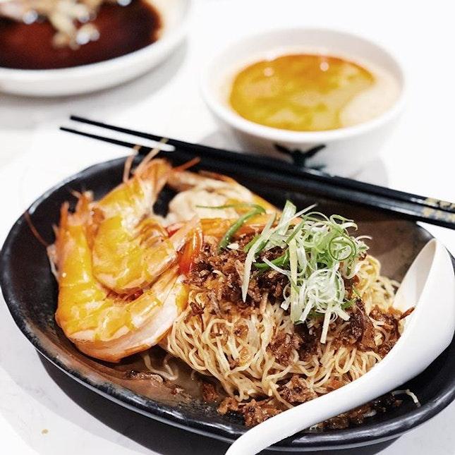 Prawn wanton noodles with big prawns from Hong Kong Wanton Noodle at B4 of @ion_orchard.