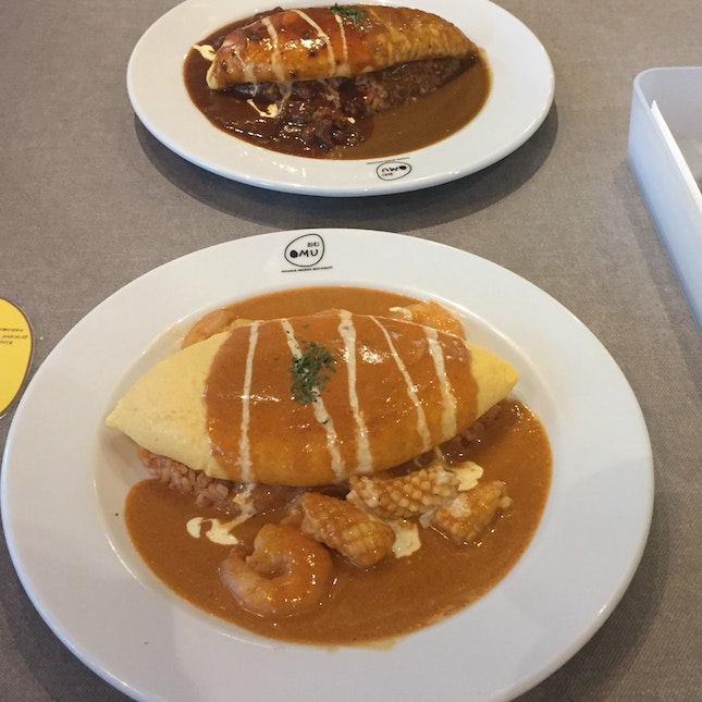 Lava Style Omelette Rice With Tomato Cream Sauce And Seafood!! ($14.80)