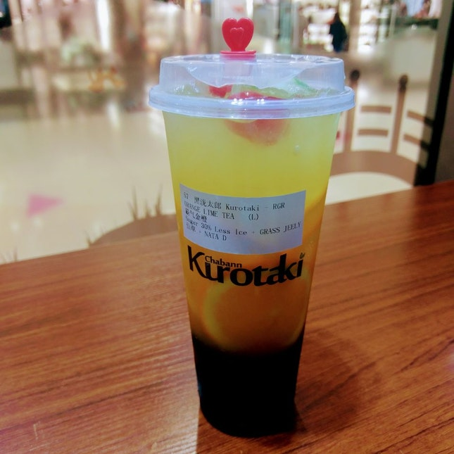 Orange And Lime Drink With Grass Jelly