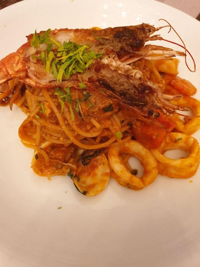 Seafood Spaghetti, Spicy Tomato Sauce