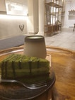 Matcha Tea (hot) and Matcha Azuki Cake