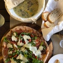 Ravioli Spinach & Ricotta ($25), Primavera ($22)