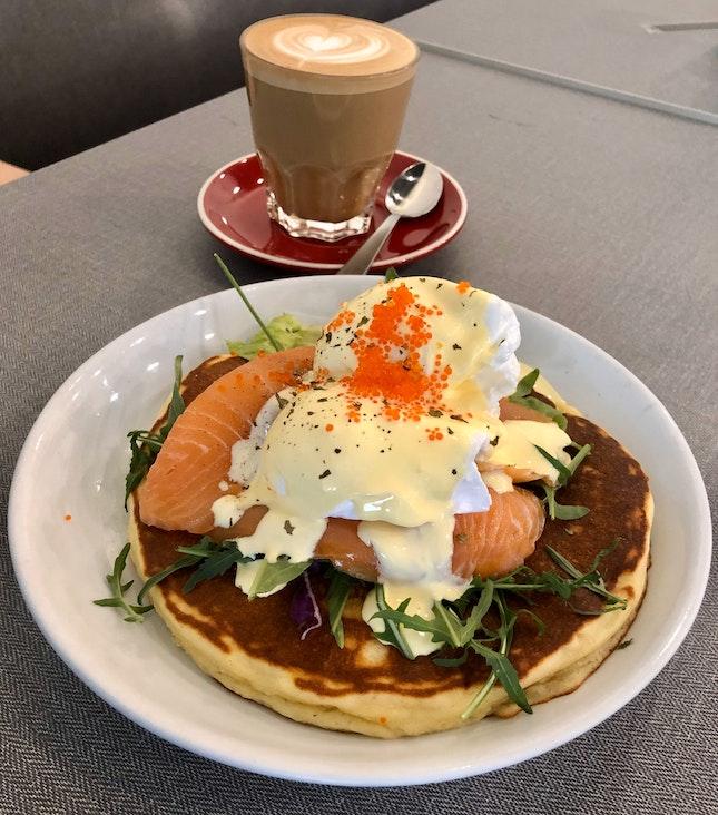 Pumpkin Pancakes ($19), Almond Latte ($6.50)