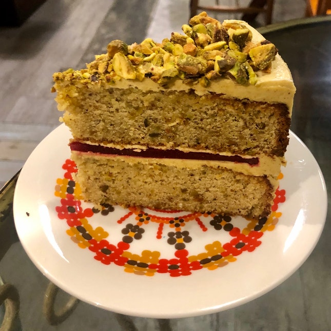 Pistachio Raspberry Cake ($9)