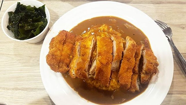 😋😋😋 Washoku Goen Chicken Katsu Curry Omelette Rice ($8.10)!